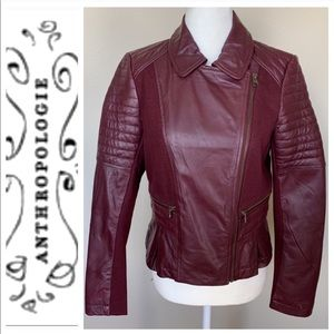 New Anthropologie - Elevenses Burgundy MOTO Jacket
